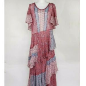 Rebecca Taylor 6 Amanda Print Silk Maxi Dress